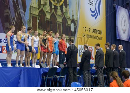 MOSCOW, RUSSIA - APRIL 21: Finalist in vault before the final competition of 5th European Championships in Artistic Gymnastics in Moscow, Russia on April 21, 2013