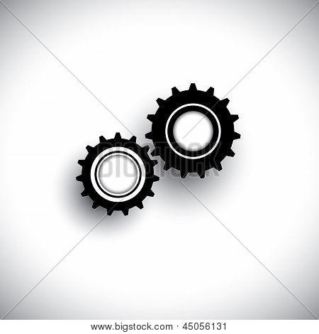 Vector Illustration Of Cogwheels In 3D Moving In Tandem Together