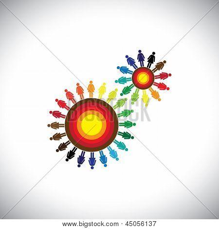 Concept Of Women Groups As Cogwheels Representing Communities