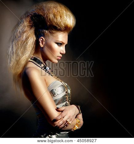 Fashion Rocker Style Model Girl Portrait. Hairstyle. Rocker or Punk Woman Makeup, Hairdo and Accessories poster