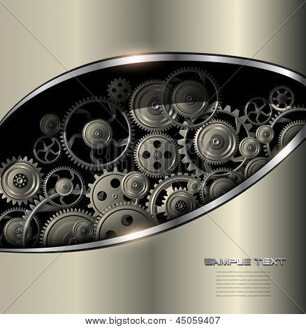 Technology background gold metallic with vector gears.