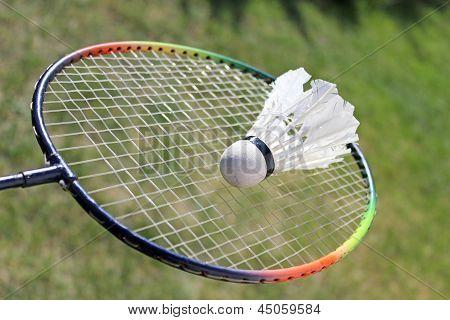 Badminton shuttlecocks on racket
