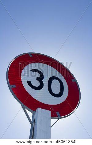 30 kph speed limit sign