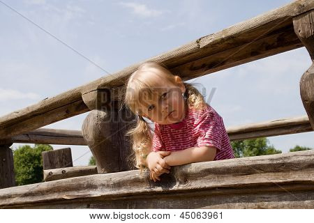 Angry Little Girl On The Playground