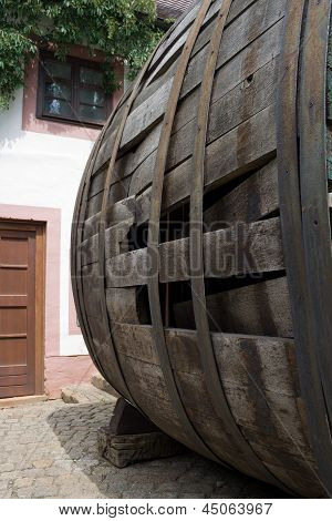 Very Old Large Wine Barrel, Oval Shaped,side View