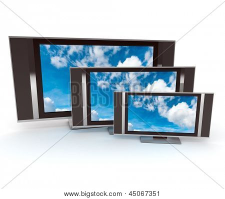 Three tvs with skys on the screens and white background