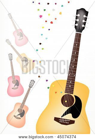 An Elegance Guitar On Colorful Guitars Background