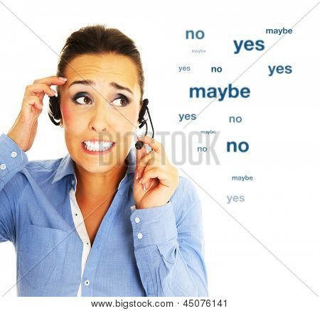 A portrait of a young woman working in a call center over white background