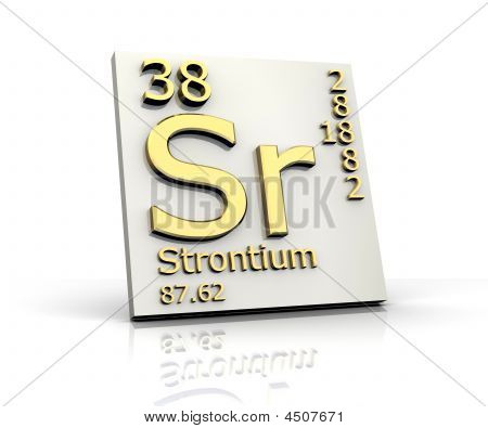 Strontium form Periodic Table of Elements - 3d made poster