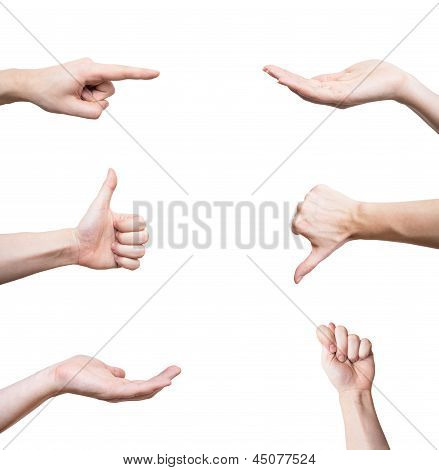 Hand gestures set isolated on white