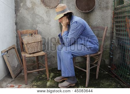 Poor Farmer At Home