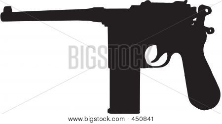Vintage Gun Illustration With Clipping Path
