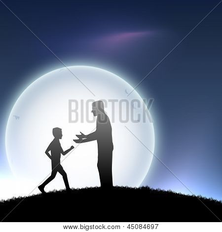 Happy Fathers Day concept with silhouette of a father and his son on evening background. poster