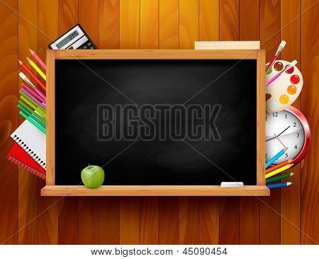 Blackboard with school supplies on wooden background. Vector illustration.