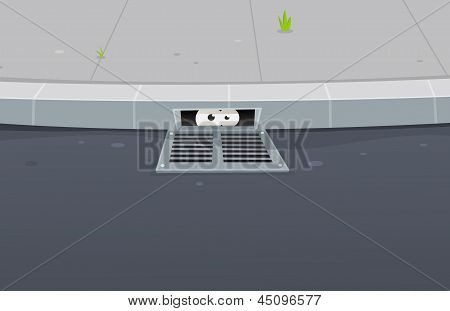 Illustration of a cartoon urban scene with road pavement and funny underground eyes looking from a gutter hole hideout poster