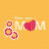 Beautiful concept for Happy Mothers Day with text love you mom and flowers on abstract yellow background. poster