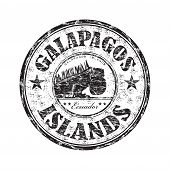Black grunge rubber stamp with the name of the Galapagos Islands written inside the stamp poster