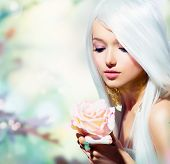 Beautiful Spring Girl With Rose Flower. Fantasy. Fairy with Long White Hair. Romantic Beauty Woman poster