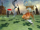 Surreal scene with various eelements poster