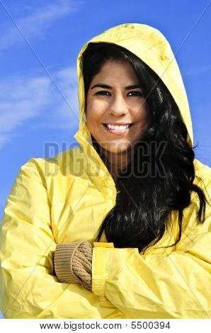 Beautiful Young Woman In Raincoat