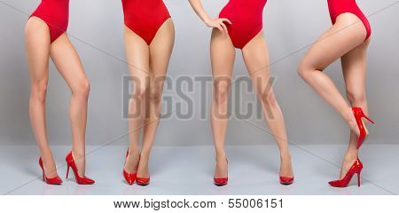 Beautiful legs of young and sporty woman in red swimsuit over grey background poster