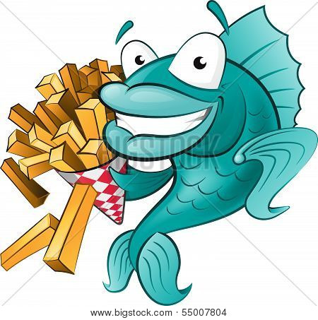 Great illustration of a Cute Cartoon Cod Fish eating a tasty Traditional British portion of chips. poster