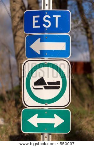 Snowmobile Road Sign