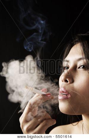 Female Inhale Smoke From Cigarette