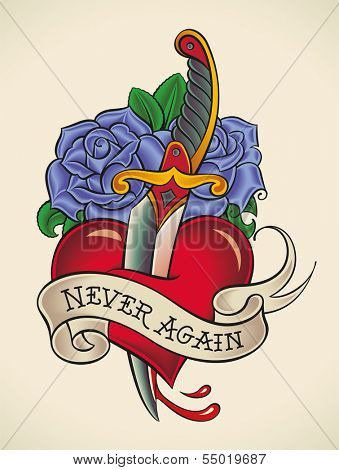Old-school styled tattoo of a dagger through heart with blue roses on the background. Raster illustration.