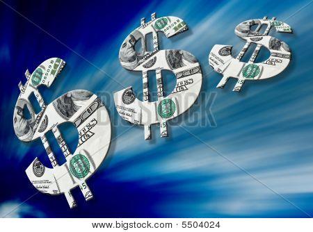 American Dollar Symbols On Blue Background