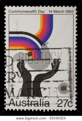 AUSTRALIA - CIRCA 1983: Stamp from Australia shows image celebrating social justice and cooperation, from the Commonwealth Day series, circa 1983