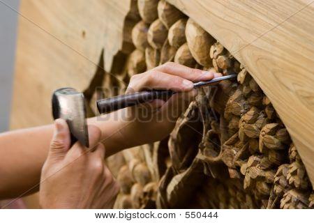 Hands Engraving Wood