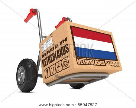 Made in Netherlands - Cardboard Box on Hand Truck.