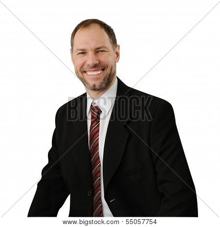 Smiling Business Man In A Suit Isolated On White Background