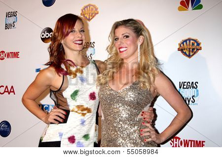 LOS ANGELES - DEC 4:  Amy Paffrath, Rebecca Zamolo at the Junior Hollywood Radio & Television 2013 Society Holiday Party at Lure Nightclub on December 4, 2013 in Los Angeles, CA