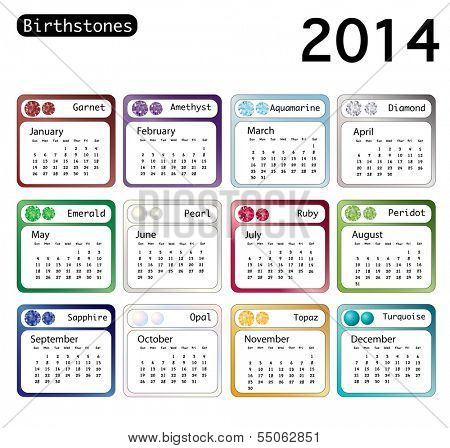 A 2014 calendar showing birthstones for each month. Also available in vector format.