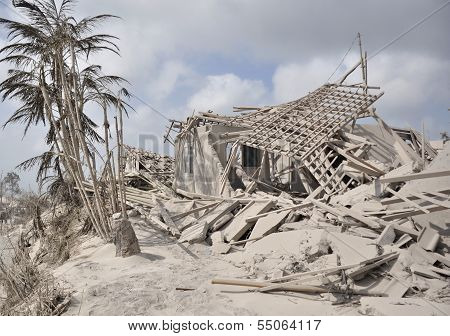 Houses destroyed by Volcanic Eruption