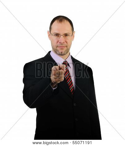 Business Man Point A Finger At You Isolated On White Background