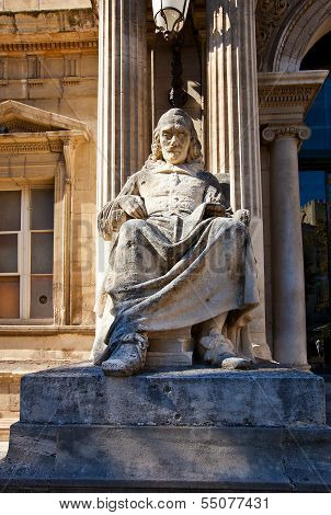 Statue of French tragedian Pierre Corneille (circa XIX c.) in front of Opera Theatre in Avignon France. Made by sculptor Jean-Louis Brian restored by sculptor Jean-Pierre Gras poster