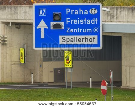 austria, linz, city highway. tunnel for noise calming the binder michel on motorway a7. poster