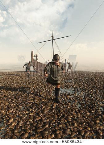 Viking warriors raiding the coast from their beached longship, 3d digitally rendered illustration poster