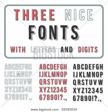 Hand Drawn Font Set. Handwriting Alphabet. ABC with Digits. Vect
