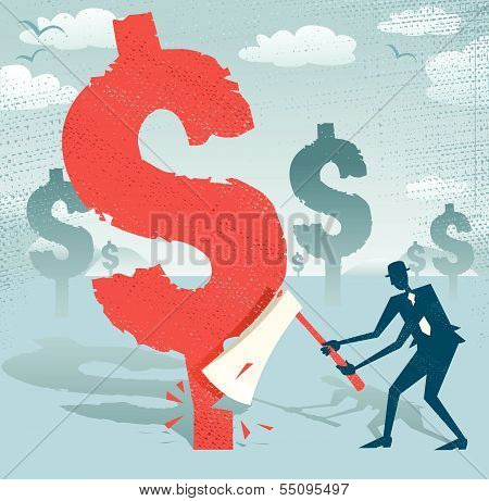 Abstract Businessman Cuts Down The Dollar.eps