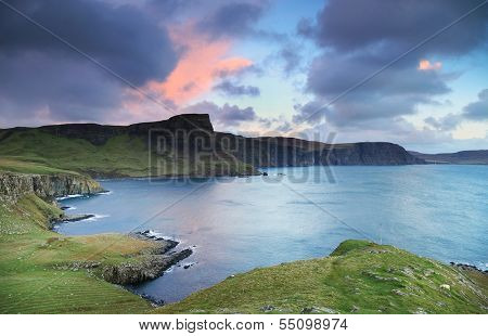 View of Neist Point and rocky ocean coastline, Highlands of Scotland, UK, Europe poster