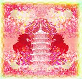 Year of Horse silhouette abstract graphic design , raster poster