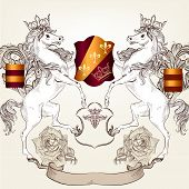 Vector heraldic illustration in vintage style with shield, lion, crown and horses for design poster