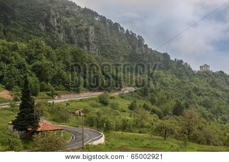 Mountain Road Going Towards A Ridge
