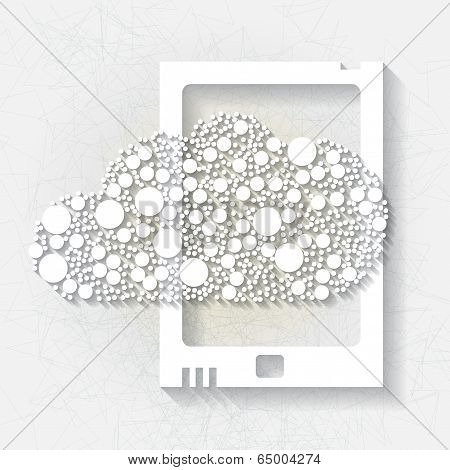 Minimalistic background with white cloud and tablet device. Eps10 poster
