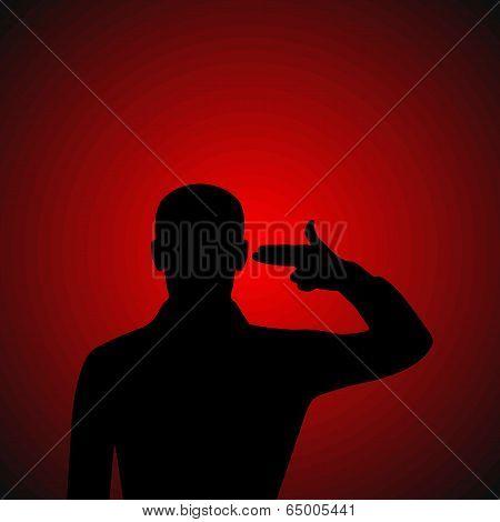Silhouette Of A Desperate Man