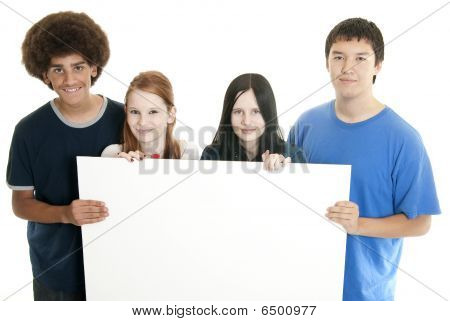 Teens With Blank Sign